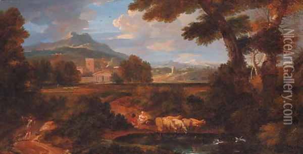 A classical landscape with shepherds watering sheep at a pool Oil Painting - Jan Frans Van Bloemen (Orizzonte)