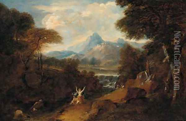 A classical landscape with Venus surprised by satyrs Oil Painting - Jan Frans Van Bloemen (Orizzonte)