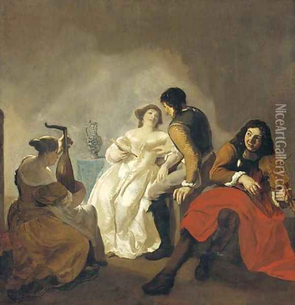 Elegant company making music in an interior Oil Painting - Jacob Ochtervelt