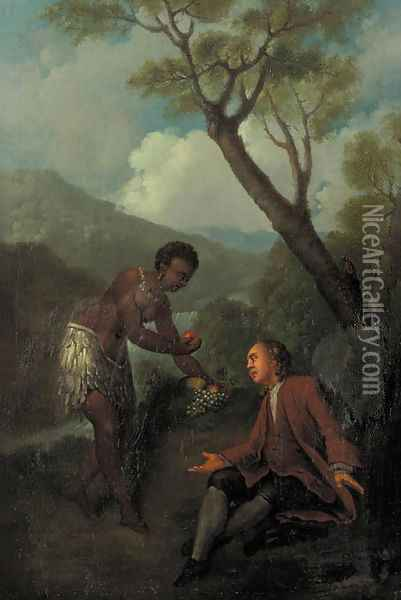 A moor servant offering fruit to a gentleman seated by a tree in a mountainous landscape Oil Painting - Jean-Baptiste Oudry