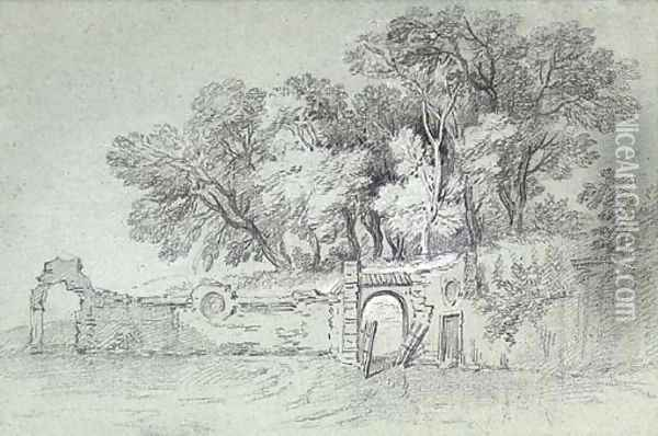 A ruined garden wall by a copse of trees, perhaps in the gardens at Arcueil Oil Painting - Jean-Baptiste Oudry