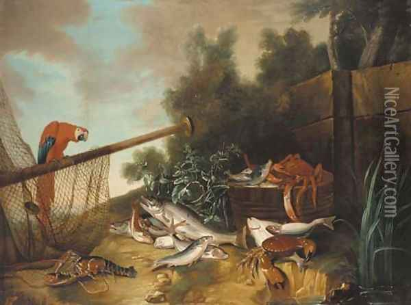 A barrel with a spider crab and fish Oil Painting - Jean-Baptiste Oudry