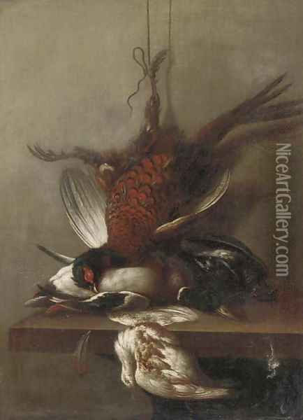A pheasant, a duck and other dead game on a ledge Oil Painting - Jean-Baptiste Oudry