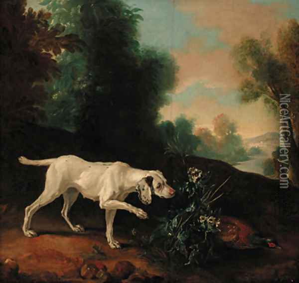 A pointer with a pheasant in a landscape Oil Painting - Jean-Baptiste Oudry