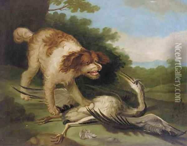 A spaniel attacking a crane Oil Painting - Jean-Baptiste Oudry