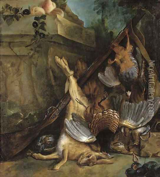 Dead game by a sculpted relief Oil Painting - Jean-Baptiste Oudry