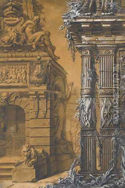 The entrance to a sepulchre with a columned building in the right, two figures in a courtyard in the background Oil Painting - Gilles-Marie Oppenord