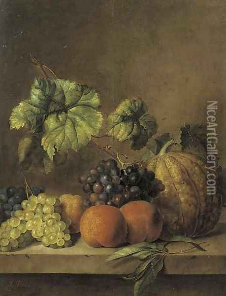 A melon, peaches and grapes on the vine on a ledge Oil Painting - Jan van Os