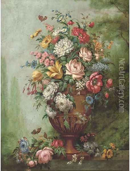 Roses, carnations, poppies, morning glory, chrysanthemums and other flowers in a sculpted urn on a stone ledge Oil Painting - Jan van Os