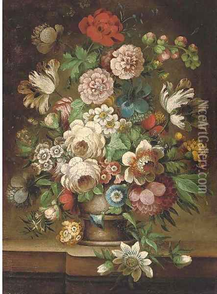 Parrot tulips, roses, carnations, a poppy, morning glory and other flowers in an urn on a stone ledge Oil Painting - Jan van Os