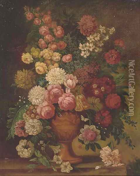 Roses, chrysanthemums, a parrot tulip, morning glory, narcissi and other flowers in a carved urn on a ledge Oil Painting - Jan van Os