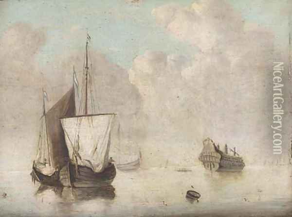 Shipping in a calm with an old hulk nearby Oil Painting - Jan van Os