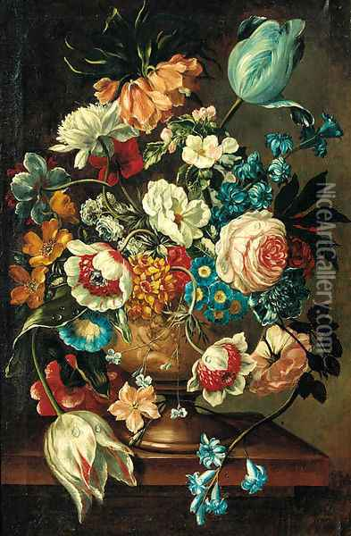 A summer bloom in an urn on a ledge Oil Painting - Jan van Os