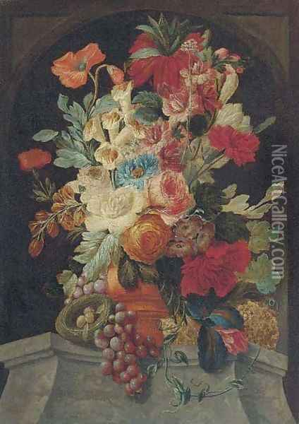 Mixed flowers in an urn on a ledge with grapes and a bird's nest Oil Painting - Jan van Os