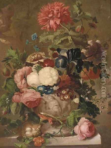 Roses, carnations and other flowers in a sculpted vase on a ledge with a bird's nest Oil Painting - Jan van Os
