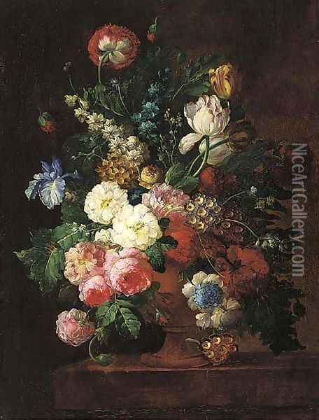 Roses, irises, tulips, and other flowers in a stone urn on a ledge Oil Painting - Jan van Os