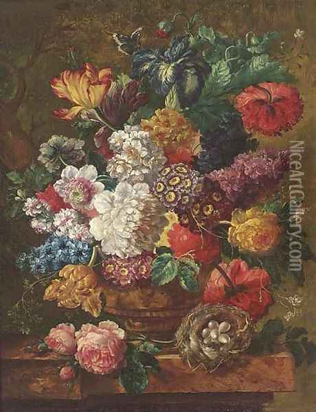 Summer flowers in a vase, with a bird's nest to the side, on a ledge Oil Painting - Jan van Os