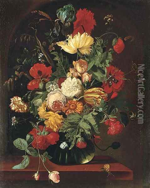 Poppies, tulips, marigolds, corns of wheat, roses and other flowers in a glass vase on a ledge Oil Painting - Jan van Os