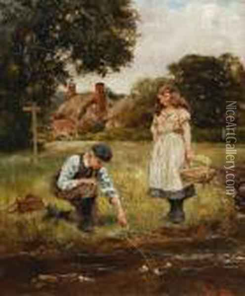Boy And Girl By A Stream Oil Painting - Henry John Yeend King