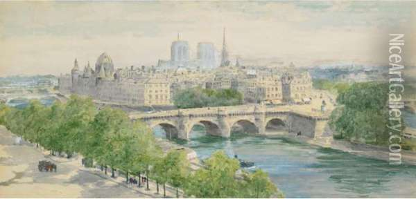 View Of Paris From The Seine Oil Painting - Henry John Yeend King