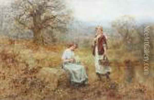 Primrose Pickers Oil Painting - Henry John Yeend King
