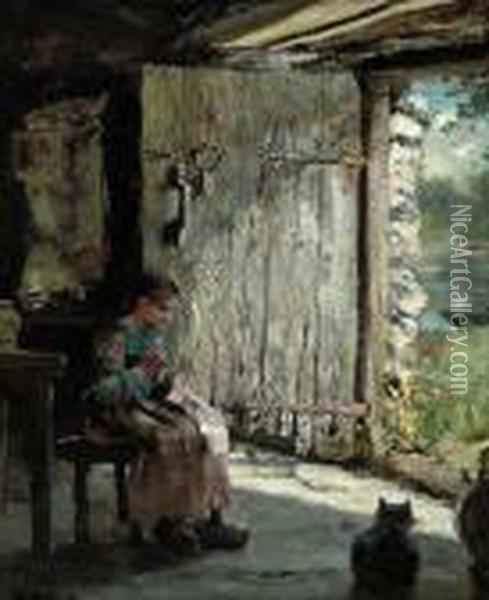 Sewing At The Cottage Door Oil Painting - Henry John Yeend King