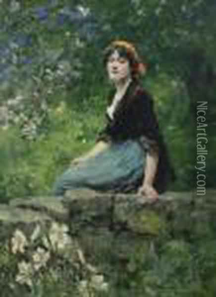Young Woman Seated On A Wall Oil Painting - Henry John Yeend King