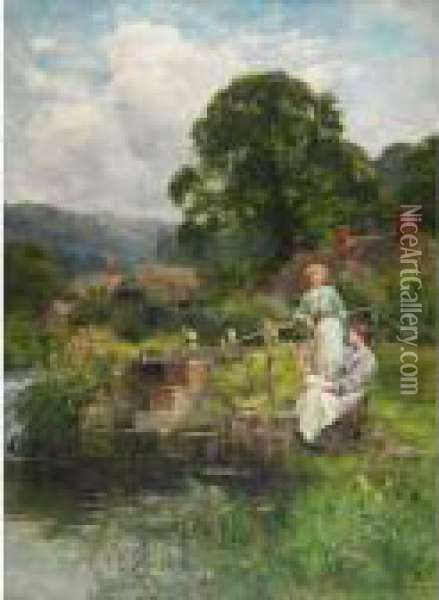 By The Old Mill Stream Oil Painting - Henry John Yeend King