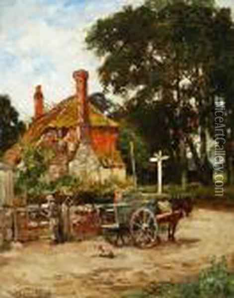 Horse And Carriage Oil Painting - Henry John Yeend King