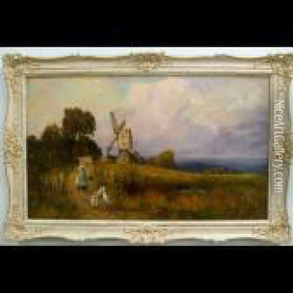 Girls With Geese On A Country Road Oil Painting - Henry John Yeend King