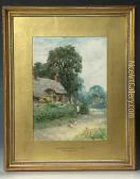 A Worcestershire Cottage Oil Painting - Henry John Yeend King