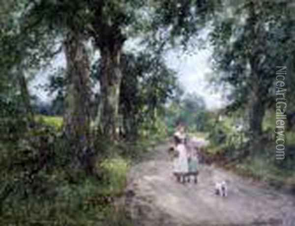 Mother, Child And Terrier On A Lane Oil Painting - Henry John Yeend King
