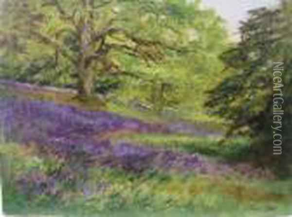 The Bluebell Wood At ' Stourhead May 1909' Oil Painting - Henry John Yeend King