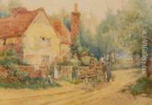 Figures In A Pony Cart On A Country Road Oil Painting - Henry John Yeend King