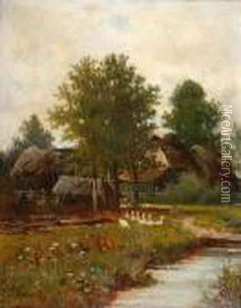 River Landscape With Geese Before Afarmyard Oil Painting - Henry John Yeend King