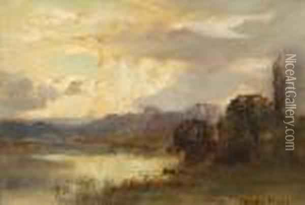 Storm Brewing Over A Lakeland Landscape Oil Painting - Henry John Yeend King