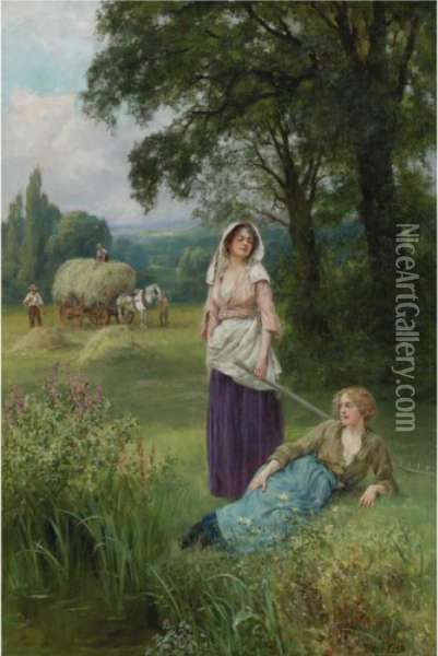Haymaking Oil Painting - Henry John Yeend King