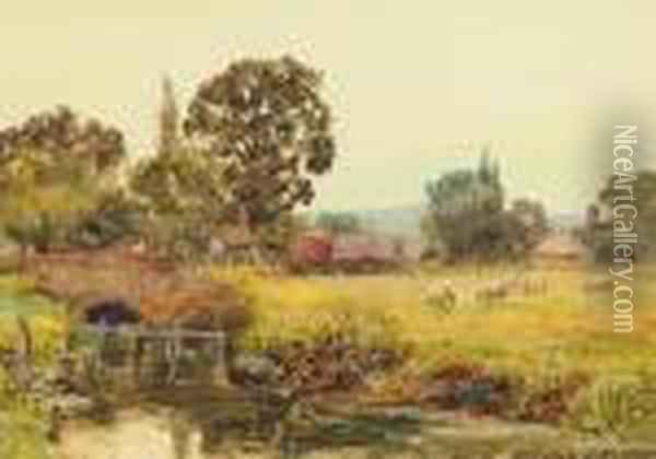 River Landscape With Sheep Grazing Oil Painting - Henry John Yeend King