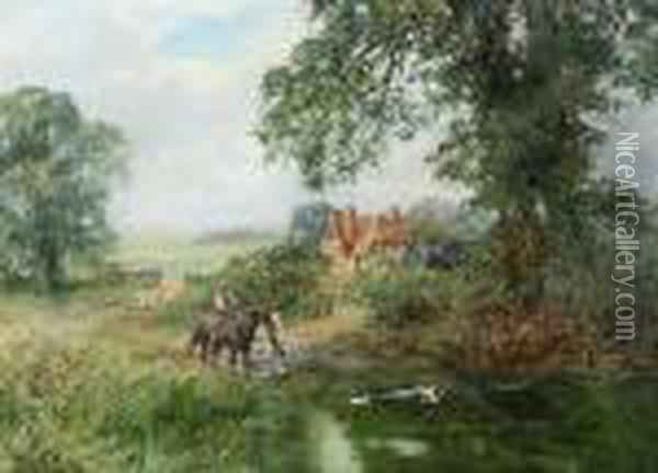 A Rural Scene With A Farmer 