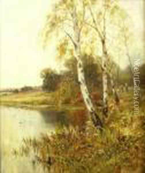 Silver Birch Trees By A River, Figures, Sheep And Oil Painting - Henry John Yeend King