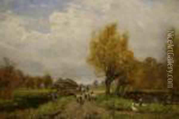 Pastoral Landscape With Sheep And Geese Oil Painting - Henry John Yeend King