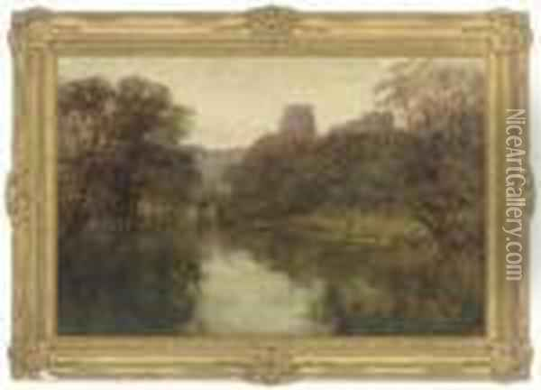 A Rowing Boat On The River Avon, Warwick Castle Beyond Oil Painting - Henry John Yeend King