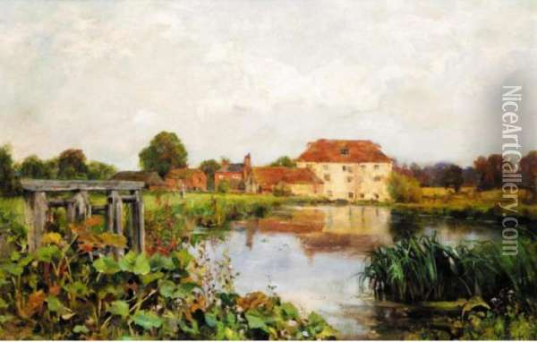 A River Landscape With Houses In The Distance Oil Painting - Henry John Yeend King