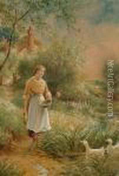 Feeding The Ducks (#) Picking The Berries Oil Painting - Henry John Yeend King