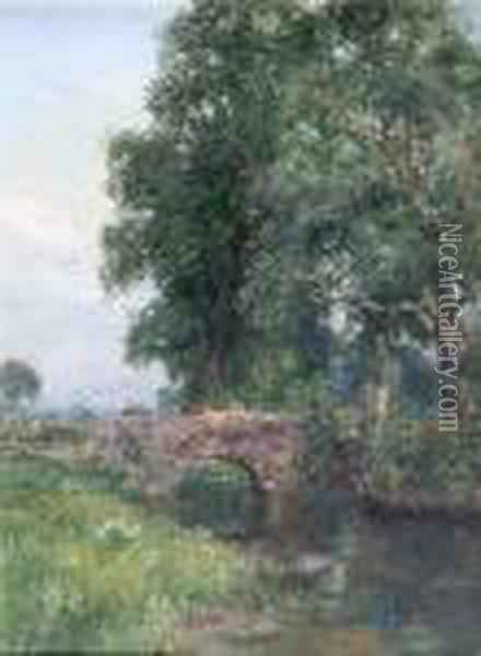 Tranquil River Landscape With A Figure On A Bridge Oil Painting - Henry John Yeend King