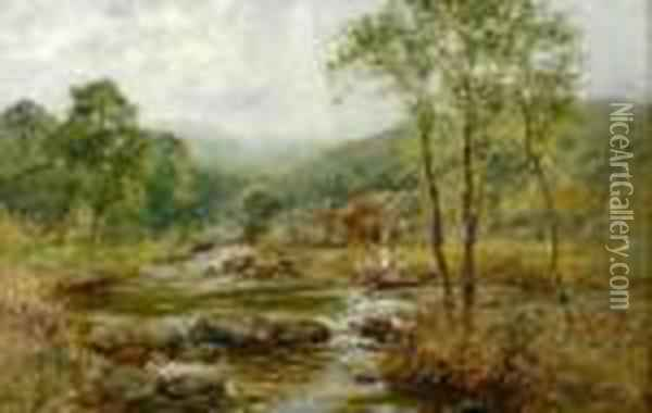 River Landscape With Two Figures Oil Painting - Henry John Yeend King