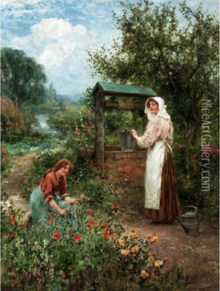 At The Well Oil Painting - Henry John Yeend King