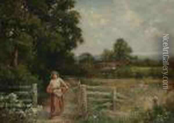 A Girl With A Basket On A Country Lane Oil Painting - Henry John Yeend King