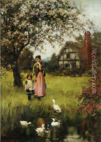 Mother And Child In A Landscape With Cottage And Duckpond Oil Painting - Henry John Yeend King
