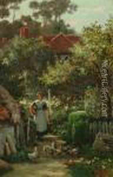 A Young Woman In A Cottage Garden Oil Painting - Henry John Yeend King